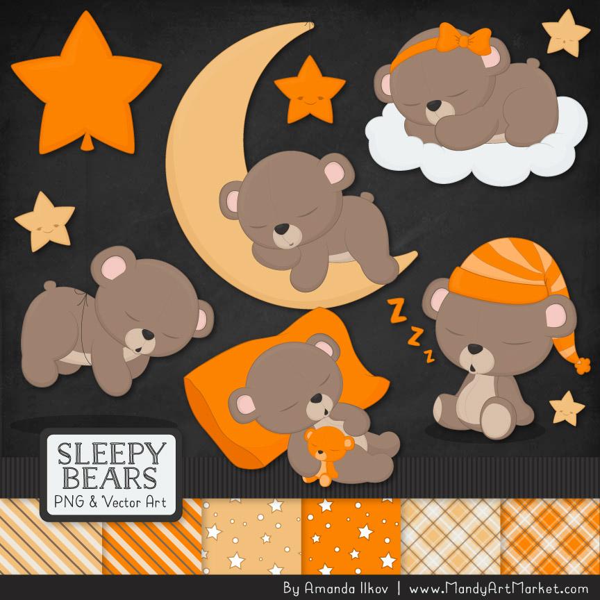 Orange Sleepy Bears Clipart & Paper Vectors