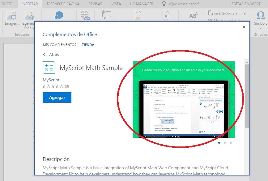 Insertar operaciones matemáticas en documentos de Word Online