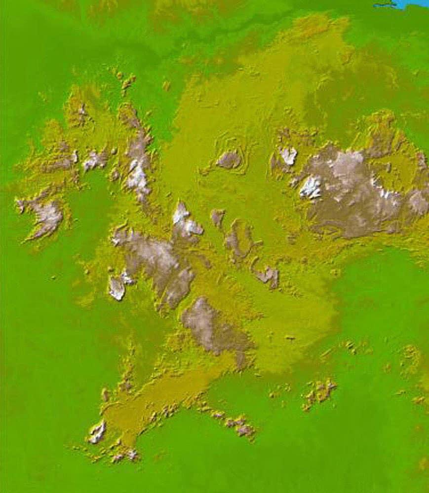 DEM of the the Guiana Highlands straddling the borders of Venezuela, Guyana and Brazil from SRTM30.  Image: NASA/JPL/NIMA