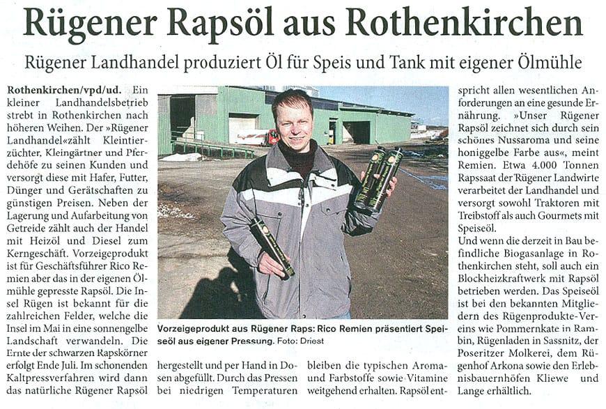 Rapsöl aus Rothenkirchen
