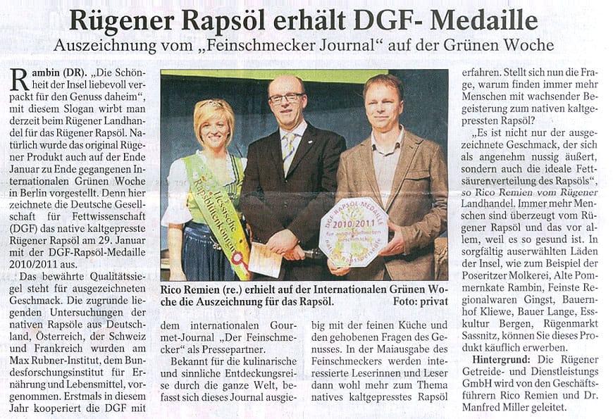 Rügener Rapsöl erhält DGF-Medaille