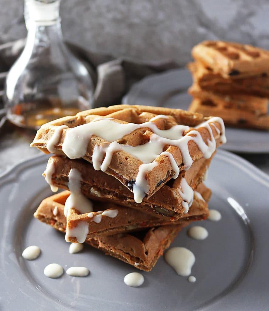 Healthyish Carrot Cake Waffles