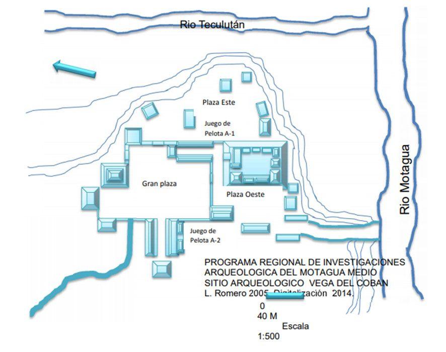 Plano de la Acrópolis de La Vega de Cobán