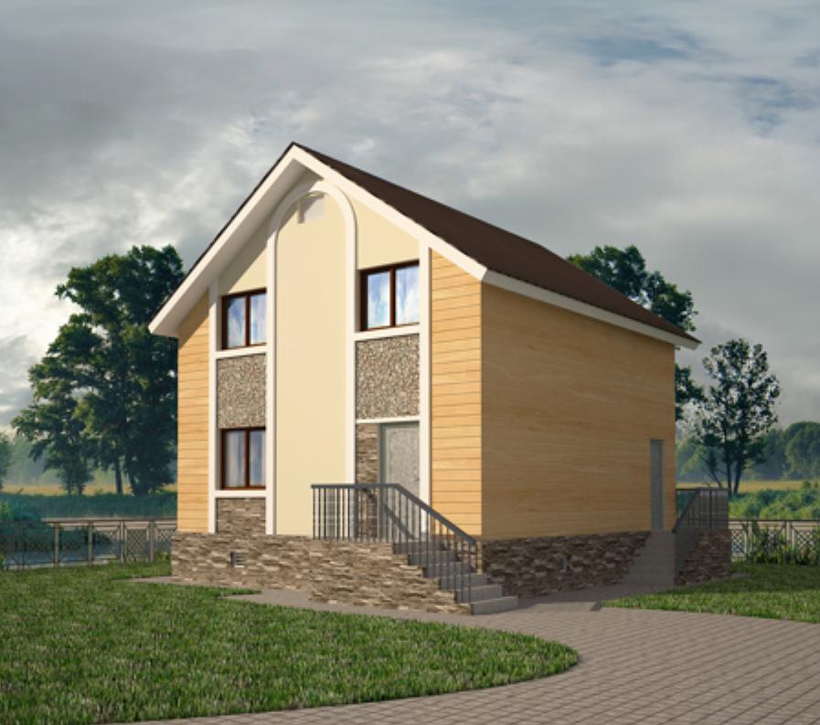 Квадратный дом с мансардой