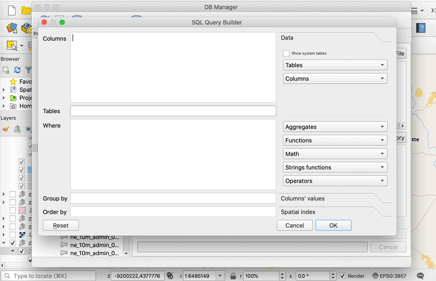 The SQL Query Building can help users formulate their queries when using the QGIS DB Manager plugin.