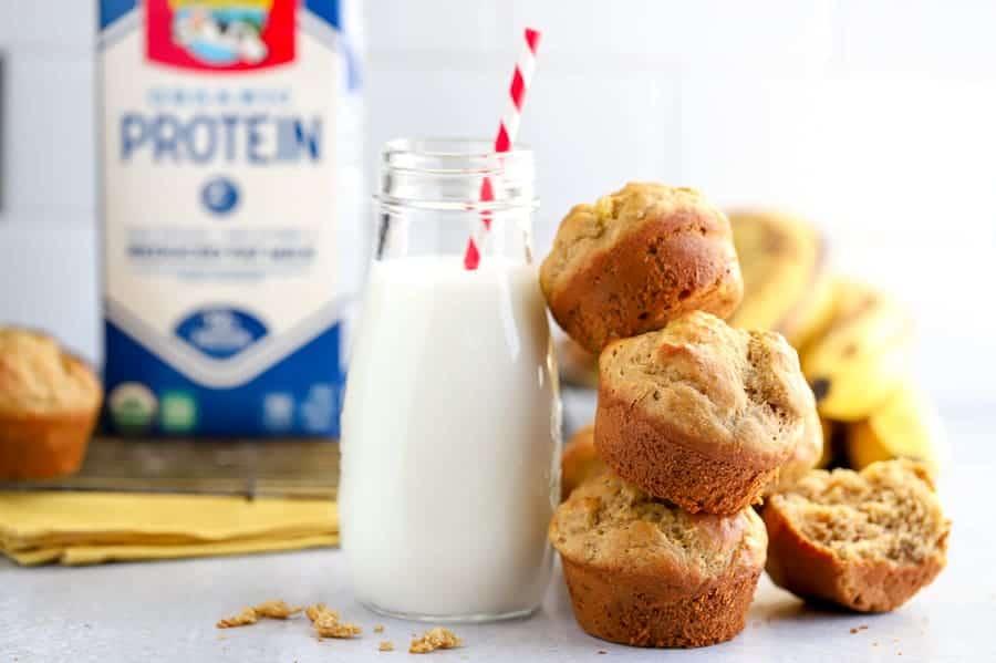 Milk with gluten free banana muffins