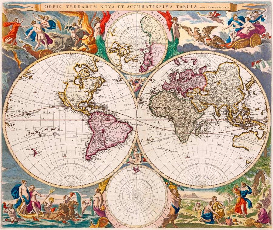 El mapa de Nicolaes Visscher está altamente decorado