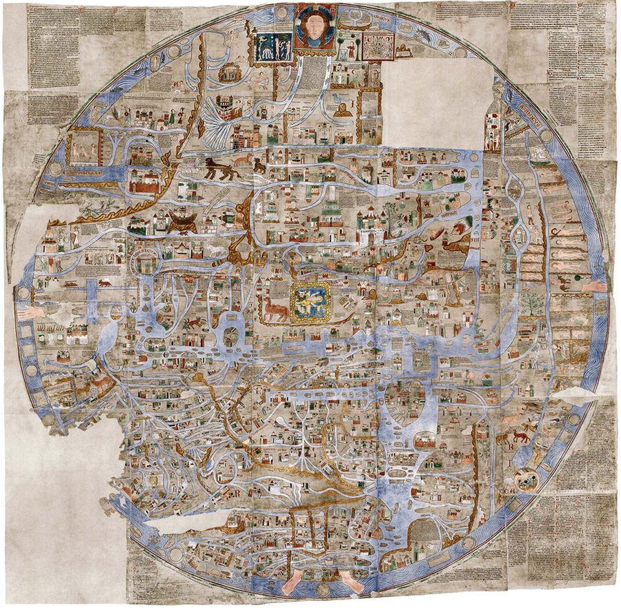 El Ebstorf Mappa Mundi fue pintado en 30 pieles de cabra