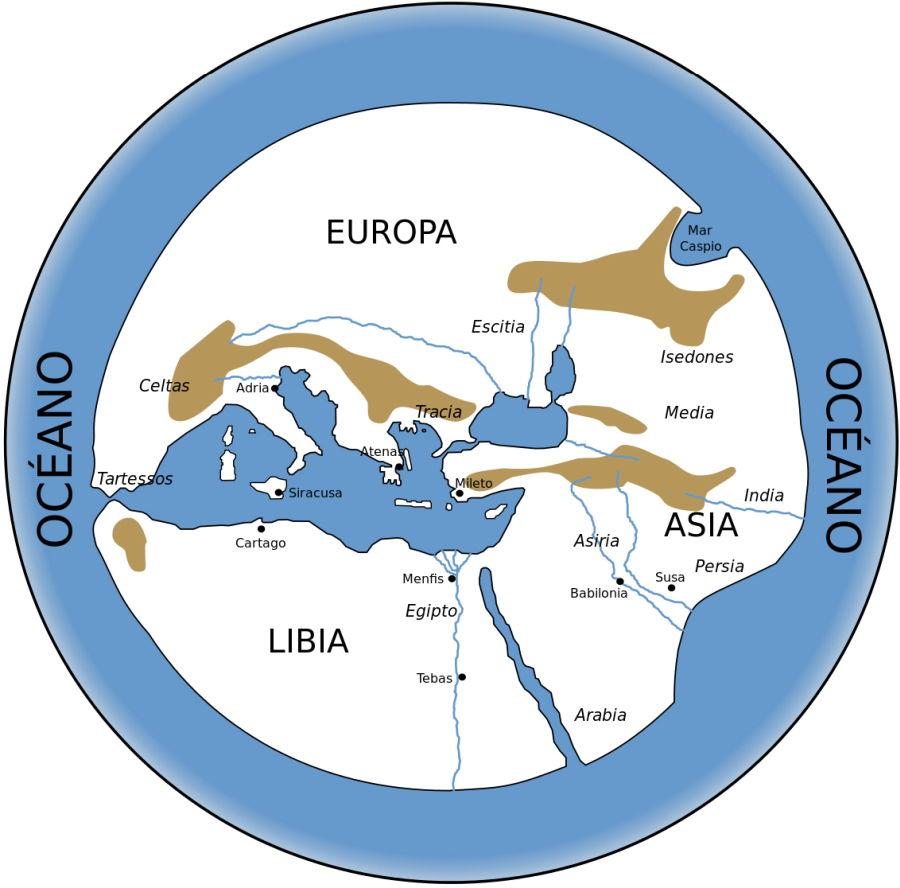 El mapa del mundo de Hecateo de Mileto