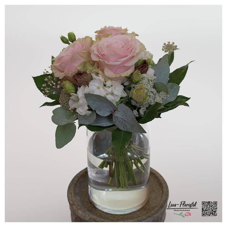 """Blumenstrauß mit Ecuador Rosen """"Pink Mondial"""" Lisianthus, Schleierkraut, Phlox und Eukalyptus"""