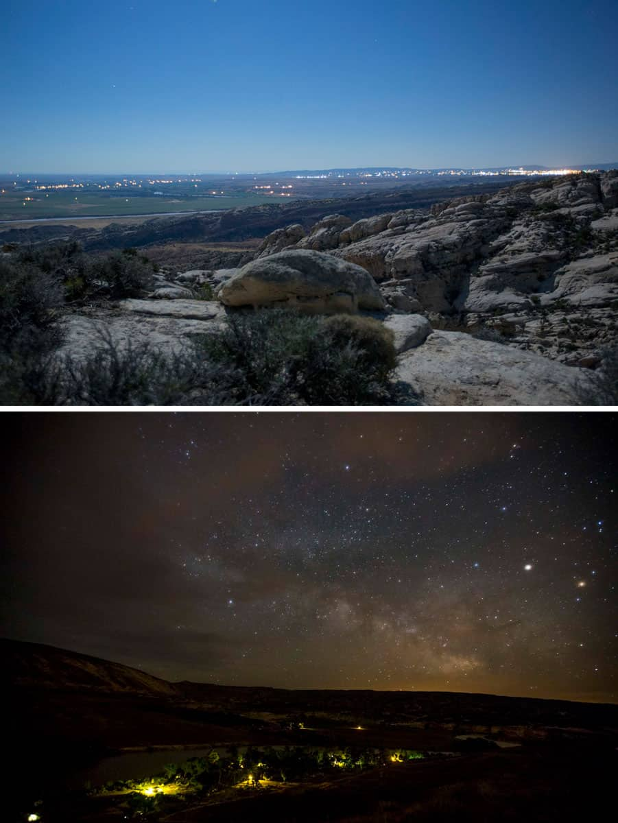 Night pollution obscure the night sky. In the top photo, the stars in the night sky over the Inglesby area of the park are dimmed due to the artificial lights of Jensen and Vernal Utah. In the bottom photo the night sky shows with lots of stars including the Milky Way over Blue Mountain and the Green River Campground. Artificial lights from the restrooms light up the campground. Photos: Inglesby and Green River Campground, NPS/Jake Holgerson, Dinosaur National Monument, public domain.