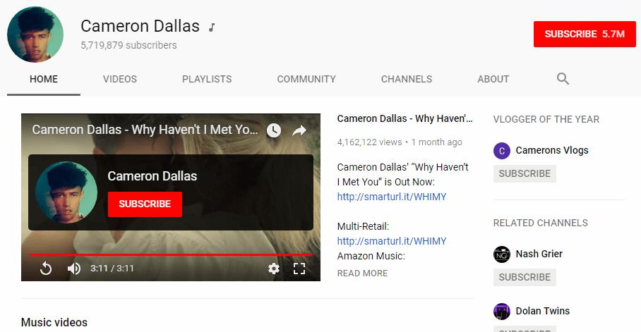 Cameron Dallas YouTube vloggers