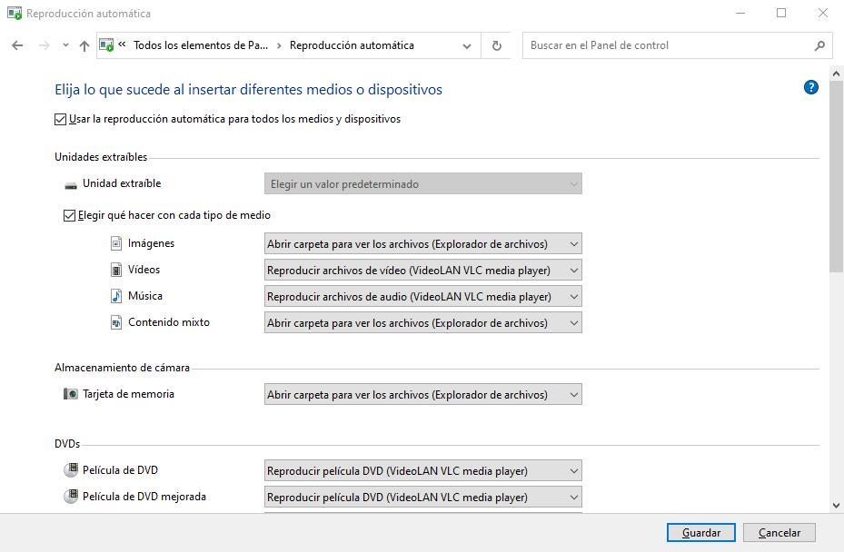 Reproducción automática en Windows 10