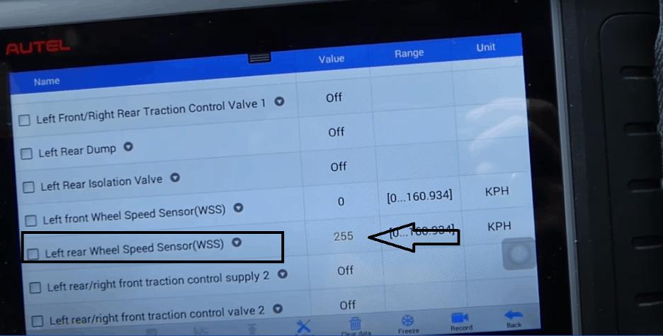 detecting a bad abs sensor