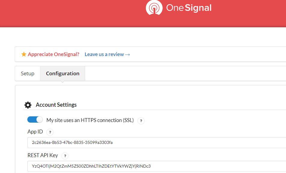 OneSignal Account Settings