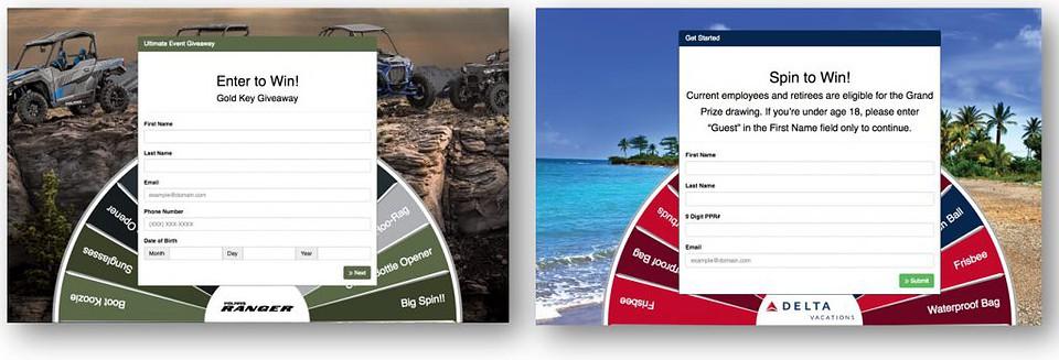 Virtual Prize Wheel - 2 kiosk iPad examples of interactive trade show games