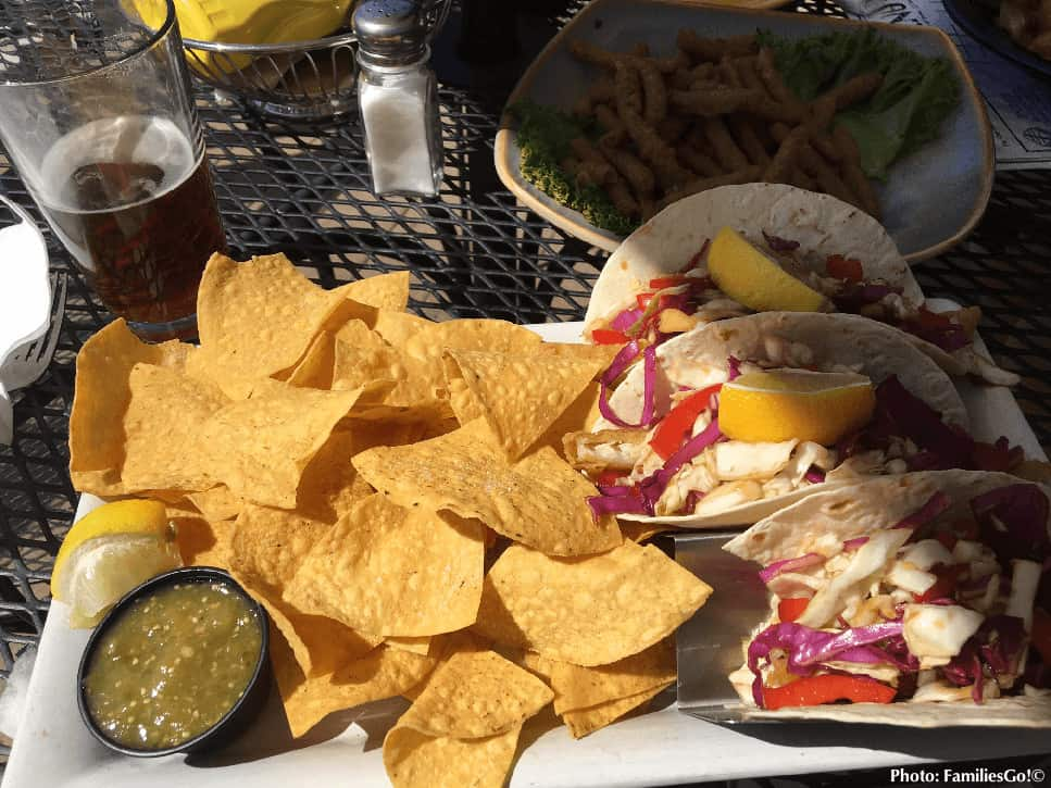 Tacos on the outdoor deck at jiminy
