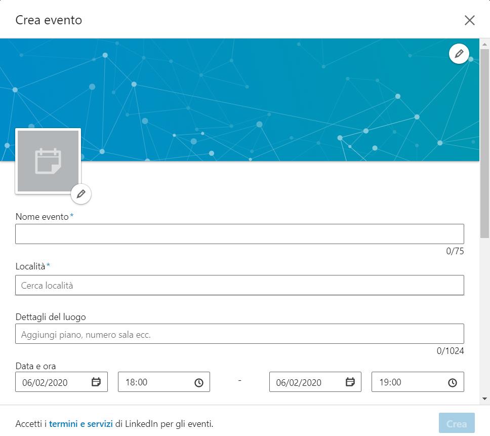 come creare un evento su linkedin