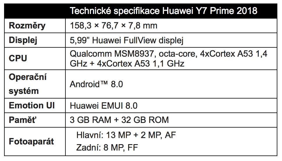 Huawei Y7 Prime 2018 Dual SIM specifikace