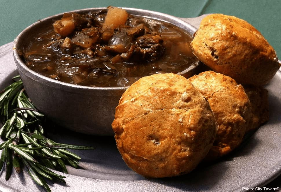 The City Tavern in Philadelphia updates colonial recipes like this rich pepperpot soup.