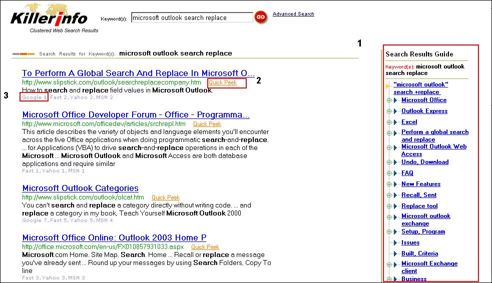 Killer Info search results.