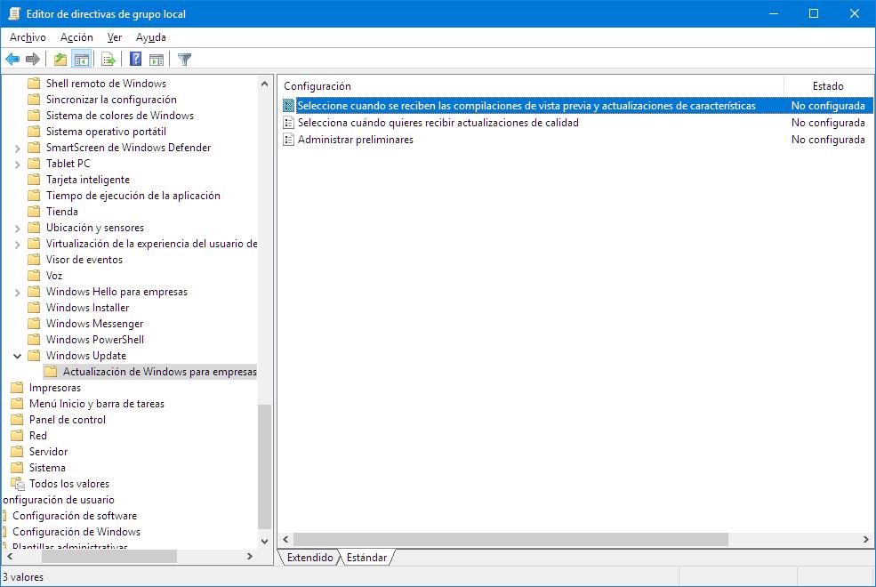 El editor de directivas de grupo local en Windows 10