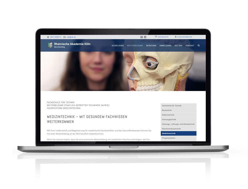 Responsive Website für die Rheinische Akademie Köln auf WordPress Basis
