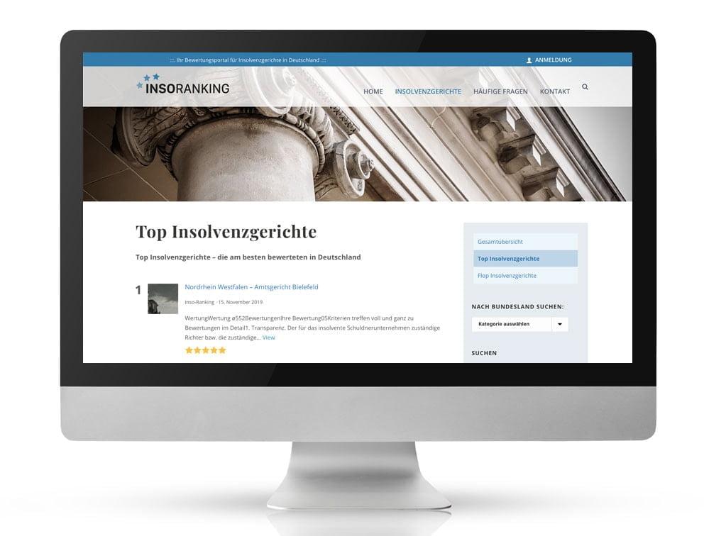 Webdesign Referenzprojekt designplus, Köln für das Bewertungsportal von Insolvenz Gerichte in Deutschland