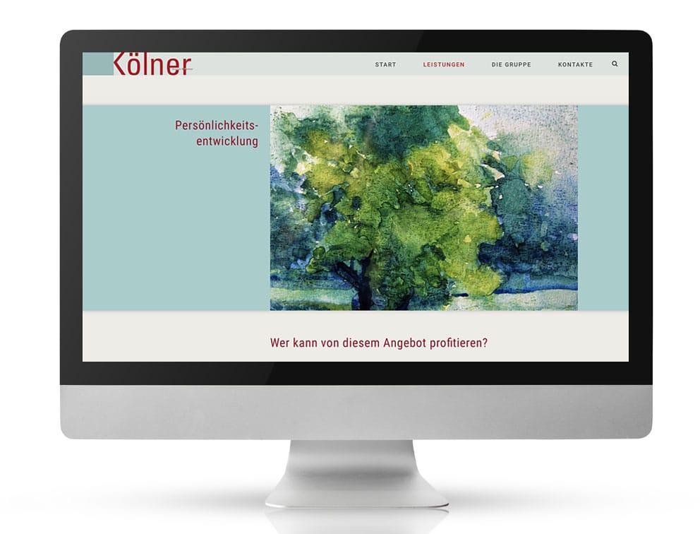 Webdesign Referenzprojekt designplus, Köln für die Kölner Gruppe