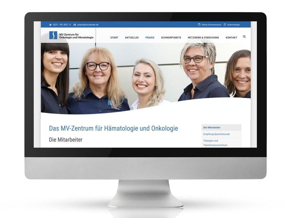 Webdesign Referenzprojekt designplus, Köln für das MVZ Praxis für Onkologie Köln