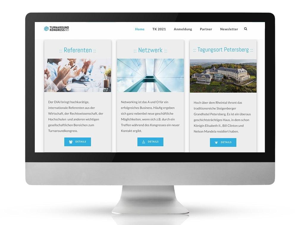 Webdesign Referenzprojekt designplus, Köln für den Turnaround Kongress