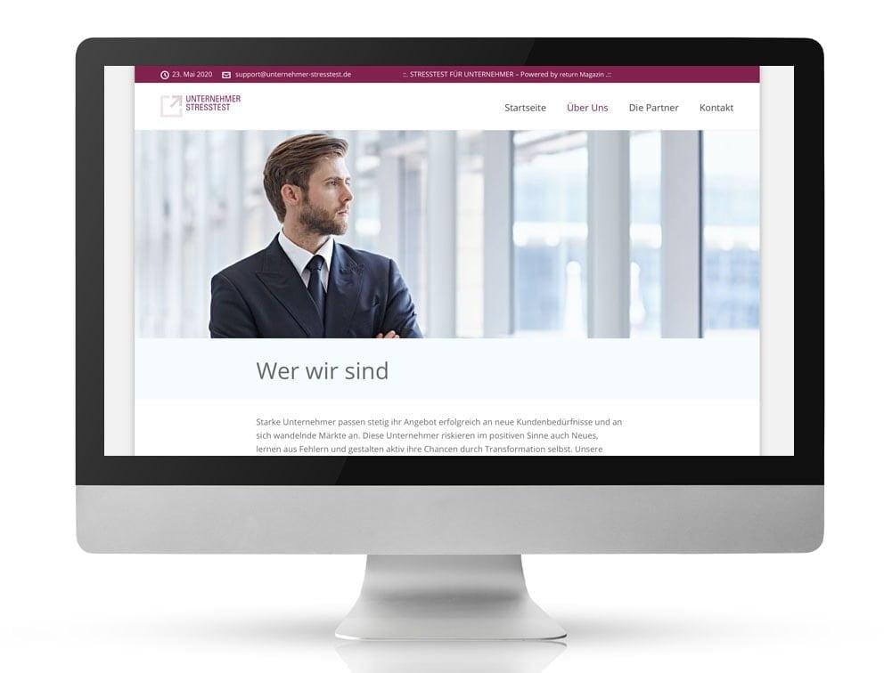 Webdesign Referenzprojekt designplus, Köln für den Unternehmer-Stresstest