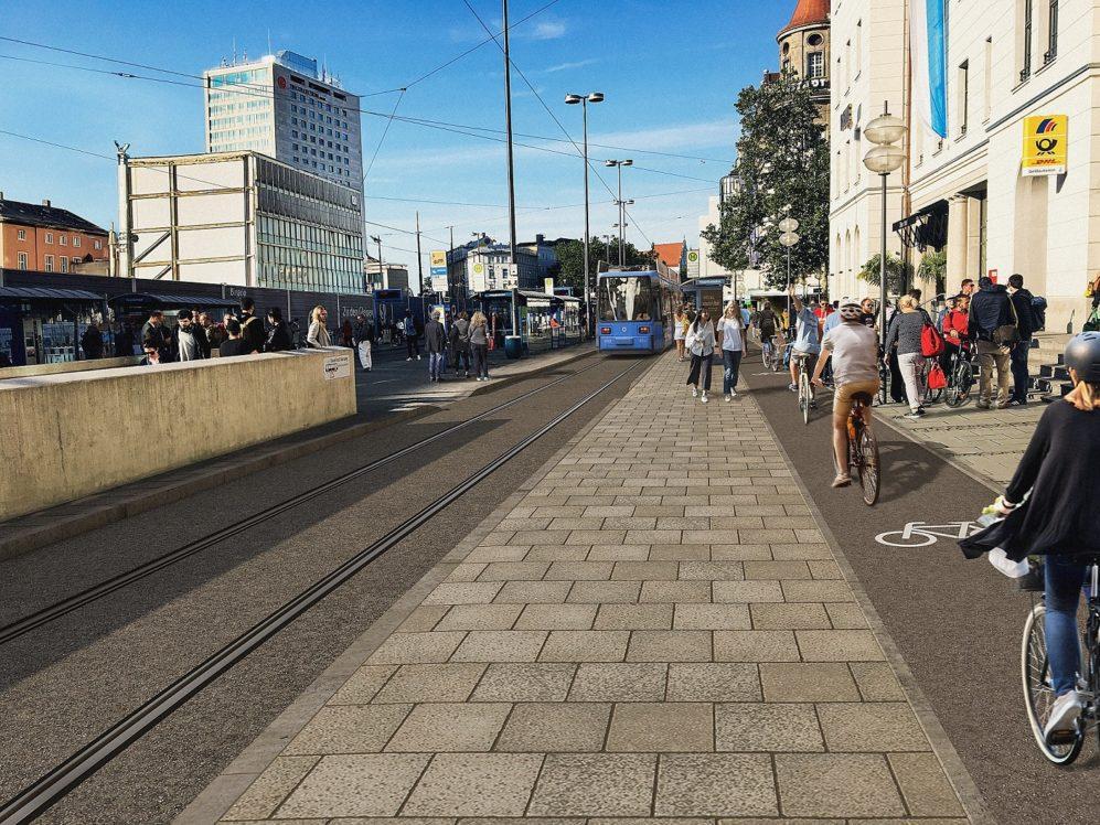 So soll die Verkehrslösung am Hauptbahnhofs-Vorplatz in München nach Ende der Umbaumaßnahmen aussehen. Visualisierung:SWM/MVG