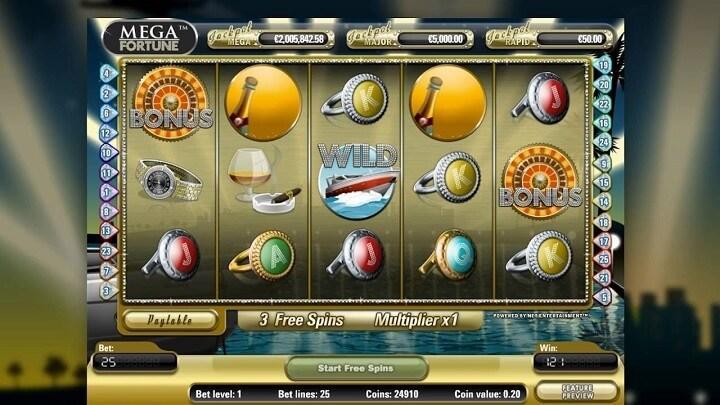 Mega Fortune har 5 hjul, 3 rækker, 25 gevinstlinjer, gratis spins og et bonusspil.