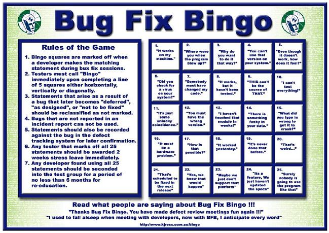 bug fix bingo screenshot