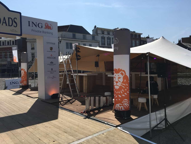 Tente pour Trajectoire à l'occasion de l'ING Ardennes Road. Conception par So Event