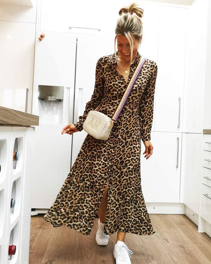 Leopard print maxi dress | 40plusstyle.com