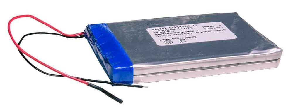 Flache Lithium-Polymer-Batterie mit zwei Anschlusskabeln