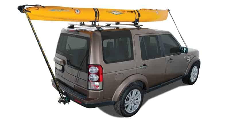 SUV with saddle kayak roof racks