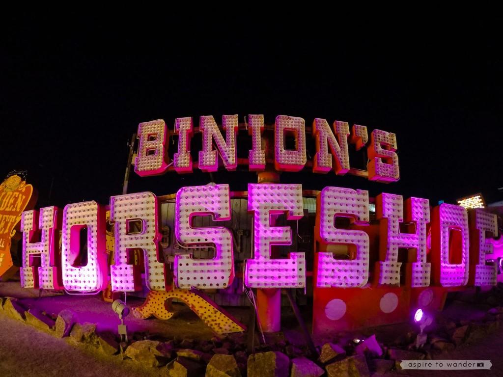 Binion's Horseshoe sign at the Neon Boneyard aka the Neon Museum in Las Vegas