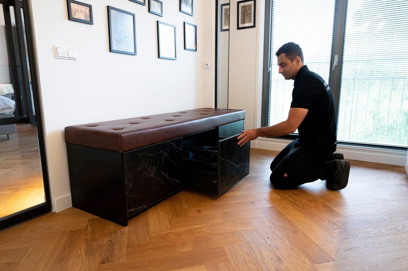 Schoenen Opbergkast Marmer gemaakt door interieurbouwer Spijkenisse