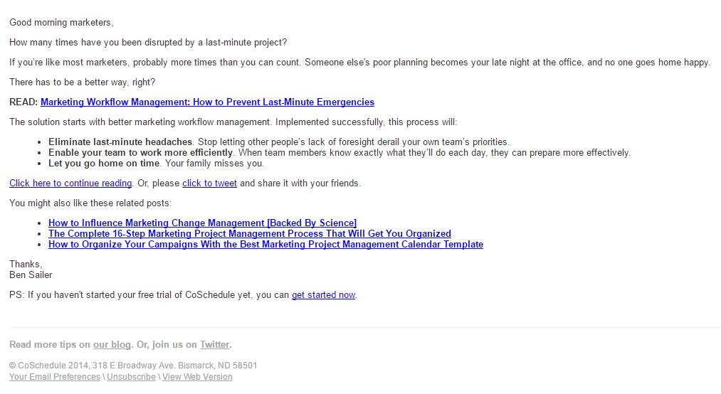 coschedule newsletter