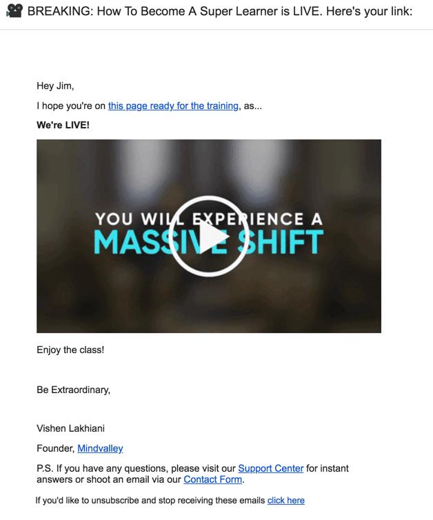 Mindvalley Academy webinar reminder email sample