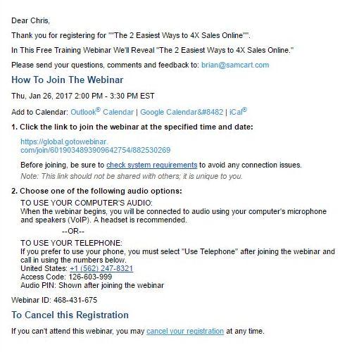 SamCart webinar confirmation email template