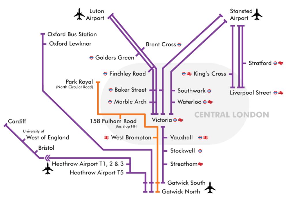 Siatka połączeń autobusowych easyBus