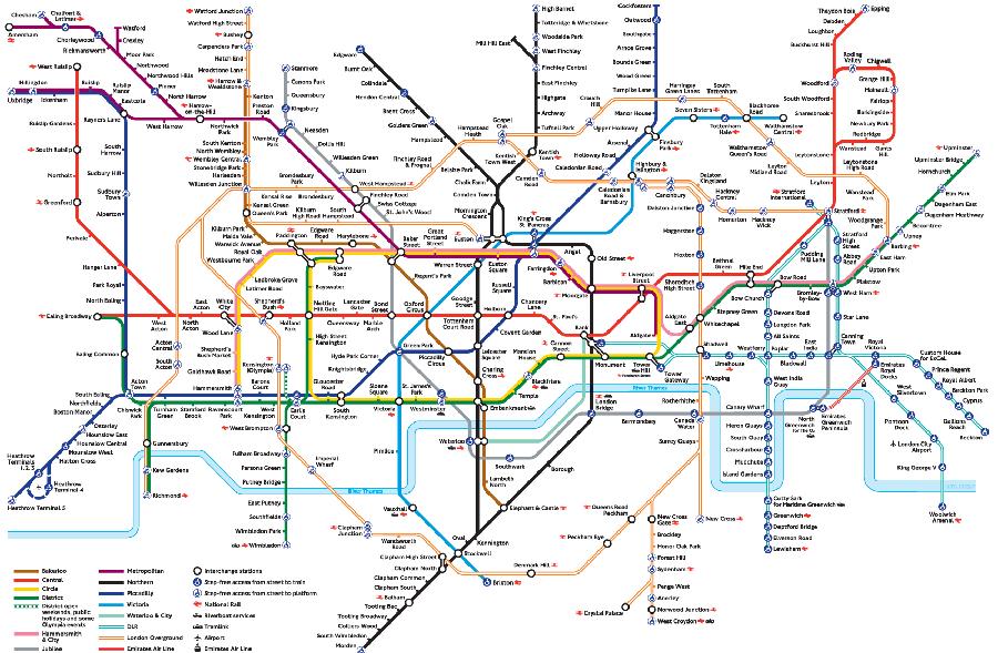 Schemat sieci metra w Londynie