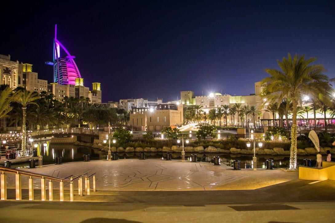 Widok na Burj Al Arab z Madinat Jumeirah