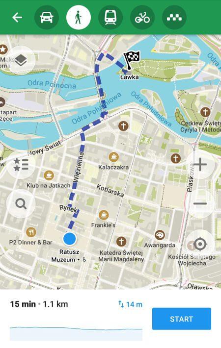 Aplikacje dla podróżników - screen z MAPS.ME #1