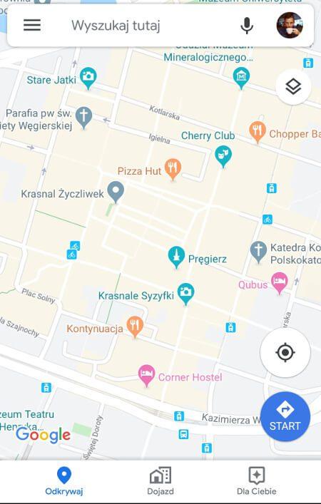 Aplikacje dla podróżników - screen z Google Maps #1