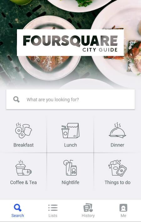 Aplikacje dla podróżników - screen z Foursquare #1